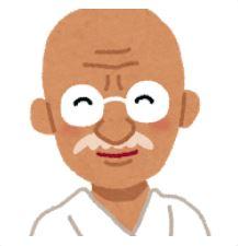 ガンジーの似顔絵のイラスト