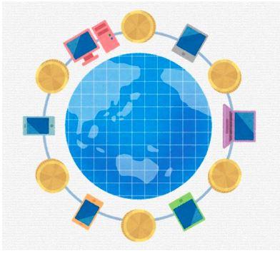 世界中で使える仮想通貨のイメージ
