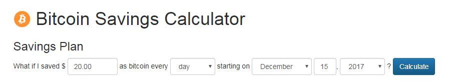 ビットコインを2017年12月15日から毎日20ドルずつ積み立てる計算前の画像