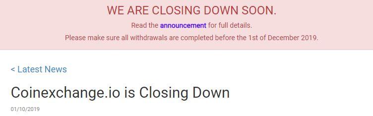 CoinExchange閉鎖